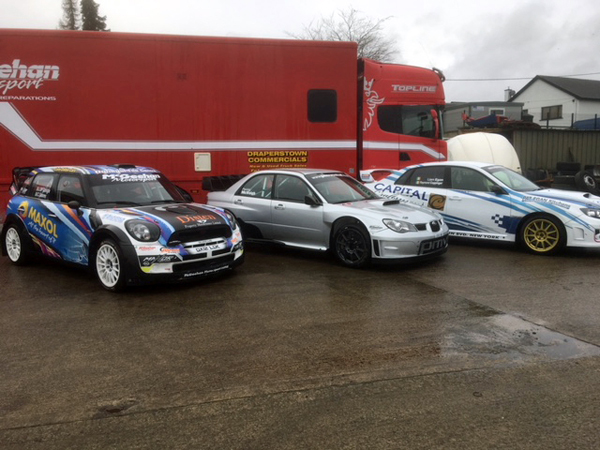 Joe McGonigle (Mini WRC), Paddy McVeigh (Impreza WRC) & Liam Egan (Subaru Impreza WRX)