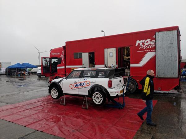 Alan Carmichael & Mini WRC RHD in service area